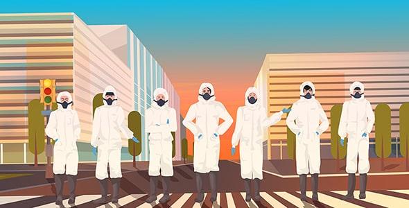وکتور مجموعه کاراکتر انسان با ماسک در شهر