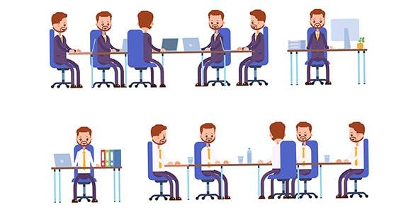 وکتور کاراکتر مرد کارمند نشسته در جلسه کاری