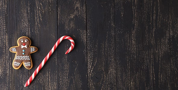 تصویر پس زمینه آبنبات و بیسکویت کریسمس