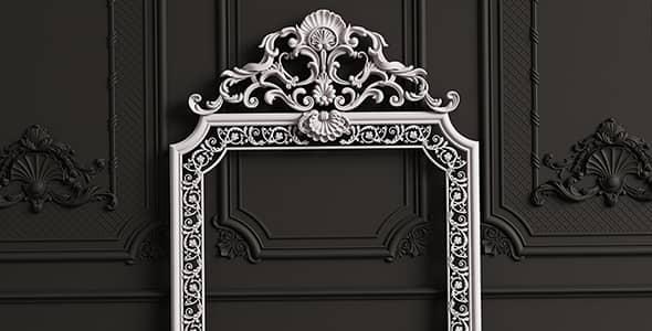 تصویر پس زمینه قاب آینه با طرح کلاسیک