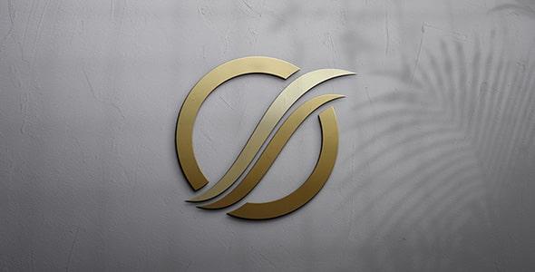 فایل لایه باز کلوزآپ موکاپ لوگو طلایی