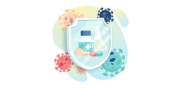 وکتور با مفهوم درمان ویروس کرونا کووید19