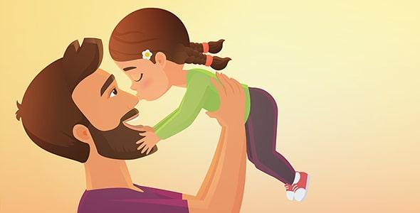 وکتور روز پدر با کاراکتر دختر و بوسیدن پدر
