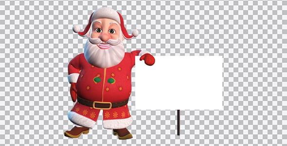 تصویر PNG کاراکتر بابا نوئل با تابلو سفید