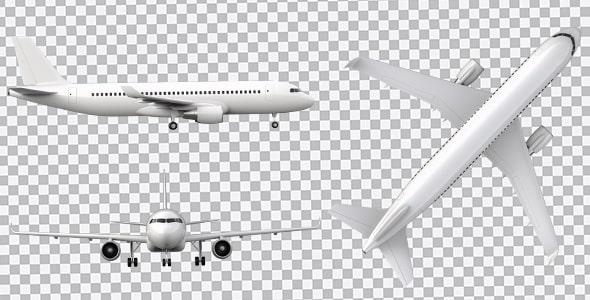 تصویر PNG مجموعه نماهای مختلف هواپیما