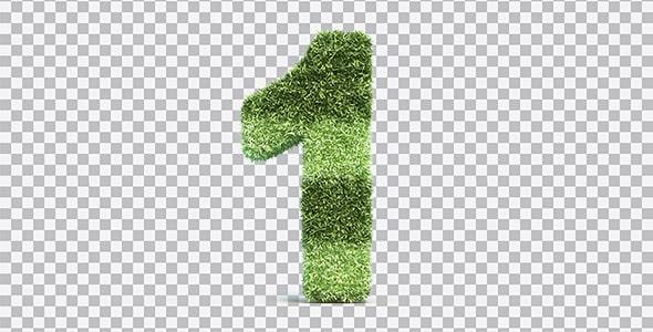 تصویر PNG رندر 3D عدد یک با طرح چمن