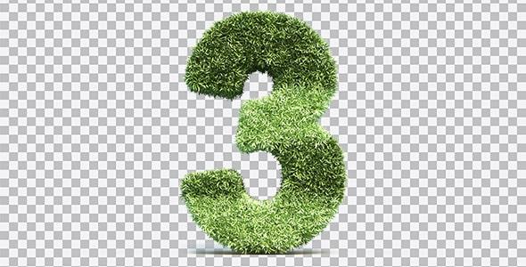 تصویر PNG رندر 3D عدد سه با طرح چمن
