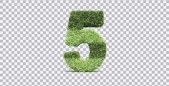 تصویر PNG رندر 3D عدد پنج با طرح چمن