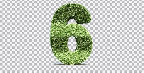 تصویر PNG رندر 3D عدد شش با طرح چمن