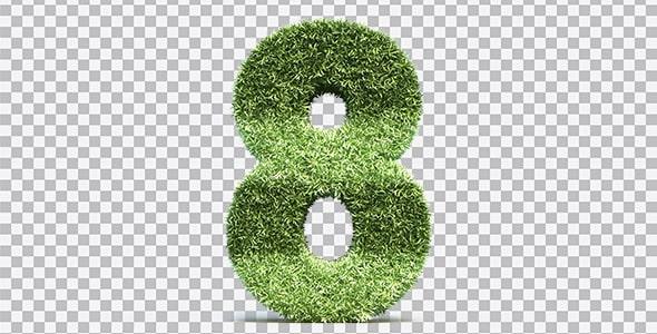 تصویر PNG رندر 3D عدد هشت با طرح چمن