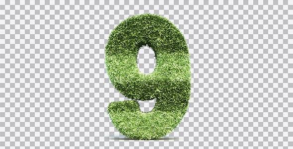 تصویر PNG رندر 3D عدد نه با طرح چمن