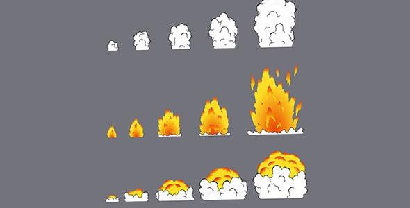 وکتور مجموعه افکت انفجار و آتش با دود