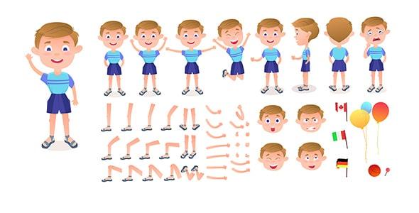 وکتور مجموعه کاراکتر کارتونی پسر بچه