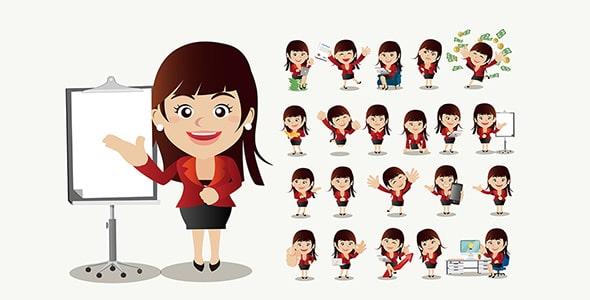 وکتور مجموعه کاراکتر کارتونی زن تاجر
