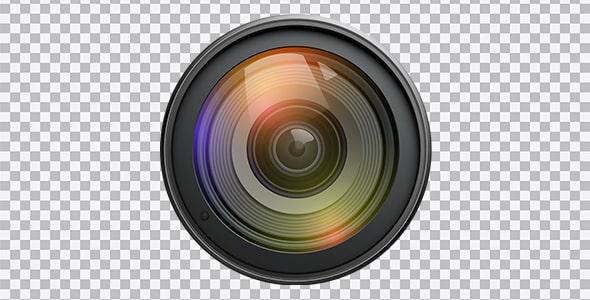 تصویر PNG نمای جلو لنز دوربین عکاسی