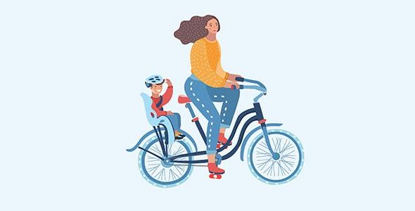 وکتور کارتونی زن و بچه در حال دوچرخه سواری