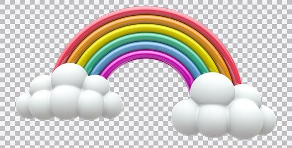 تصویر PNG رندر سه بعدی رنگین کمان