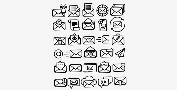 فایل لایه باز مجموعه آیکون ایمیل