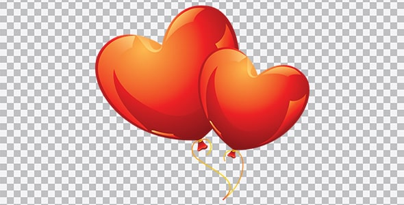 تصویر PNG مجموعه بادکنک قلبی قرمز
