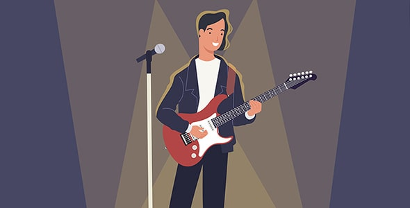 وکتور نوازنده مرد با گیتار الکتریک روی استیج