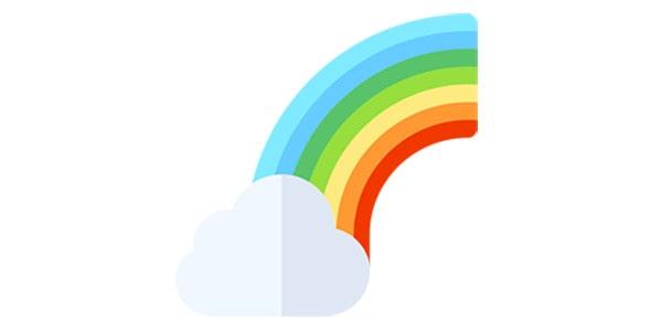 آیکون رنگین کمان و ابر