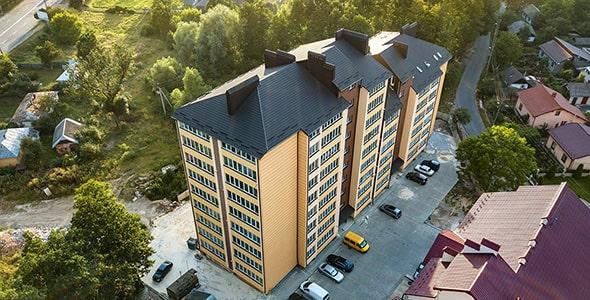 تصویر نمای هوایی آپارتمان های مسکونی