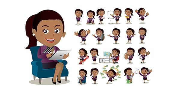 وکتور کاراکتر کارتونی زن با ژست های مختلف