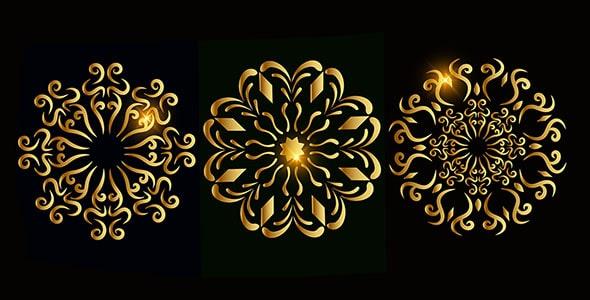 وکتور مجموعه طرح گل تزئینی و اسلیمی طلایی