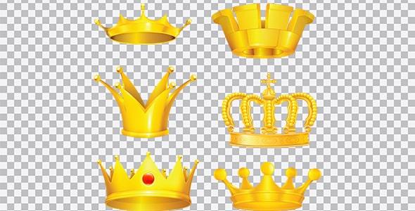 تصویر PNG مجموعه تاج طلایی پادشاهی