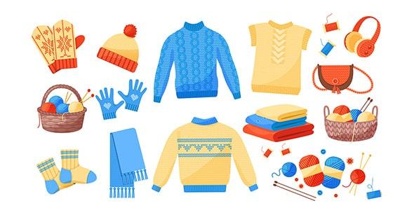 وکتور مجموعه لباس بافتنی زمستانی و گرم