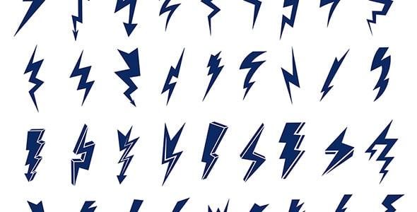 وکتور مجموعه نماد و نشانه یا لوگو رعد و برق