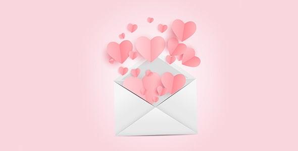 وکتور پاکت نامه با قلب و مفهوم عشق