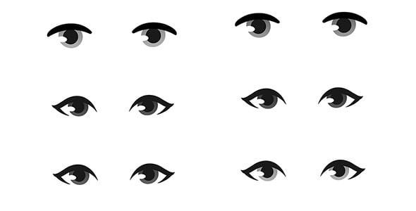 وکتور مجموعه چشم کارتونی انسان