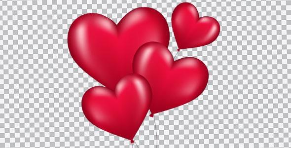 تصویر PNG مجموعه بادکنک طرح قلب
