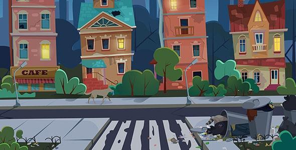 وکتور کارتونی شهر قدیمی با خیابان کثیف