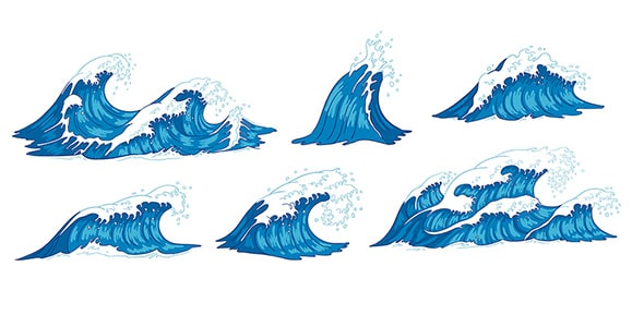 وکتور مجموعه امواج و موج دریا و اقیانوس