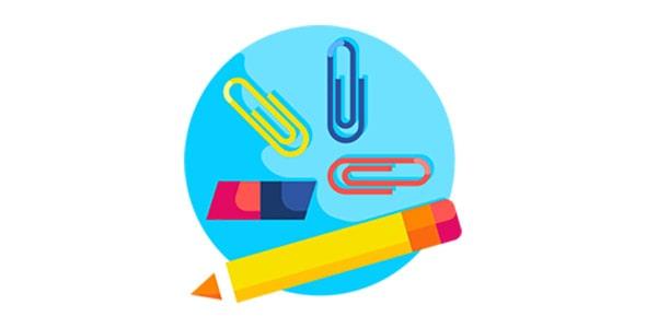 آیکون مداد و گیره کاغذ