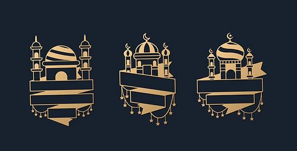 وکتور مجموعه لوگو مسجد با روبان