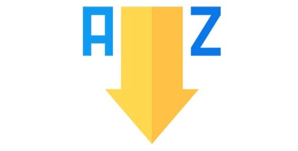 آیکون مرتب سازی صعودی A به Z