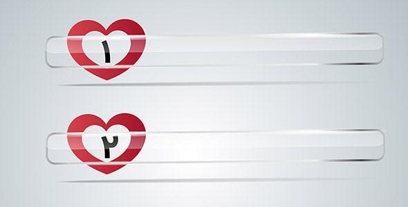 وکتور مجموعه نوار اسکرول یا پیمایش قلب