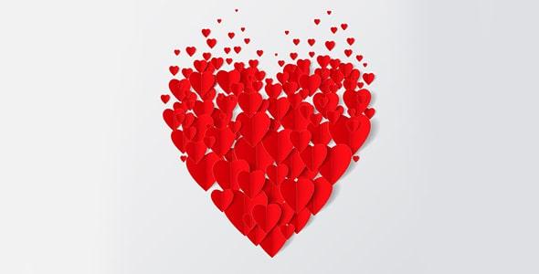 وکتور مجموعه قلب قرمز ولنتاین و عشق
