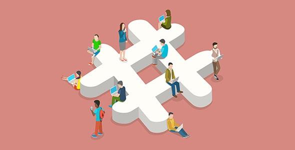 وکتور ایزومتریک هشتگ با مفهوم شبکه اجتماعی