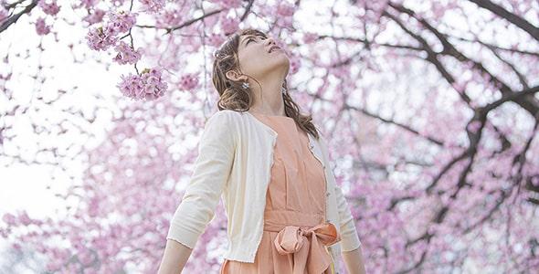 تصویر دختر جوان در میان شکوفه درخت گیلاس
