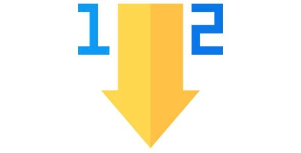 آیکون مرتب سازی صعودی اعداد