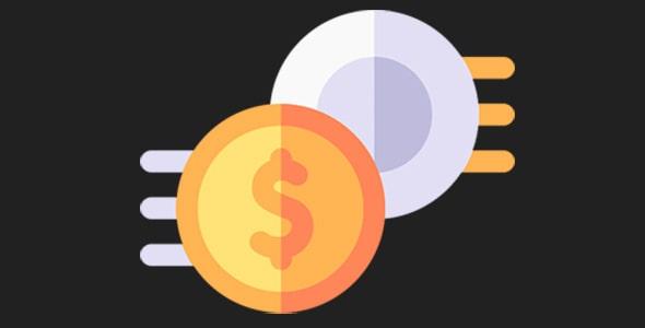 آیکون دلار و سکه با مفهوم تجارت