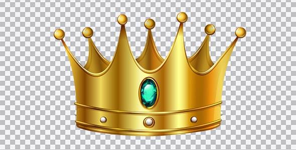 تصویر PNG تاج طلایی پادشاهی با نگین