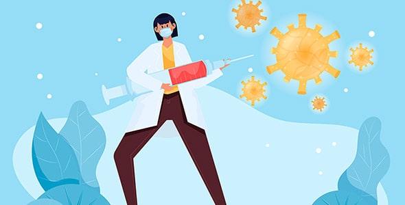 وکتور کاراکتر پرستار و مبارزه با ویروس