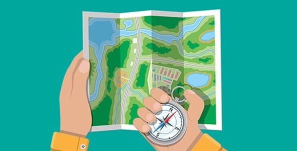 وکتور نقشه شهر با قطب نما و دست انسان