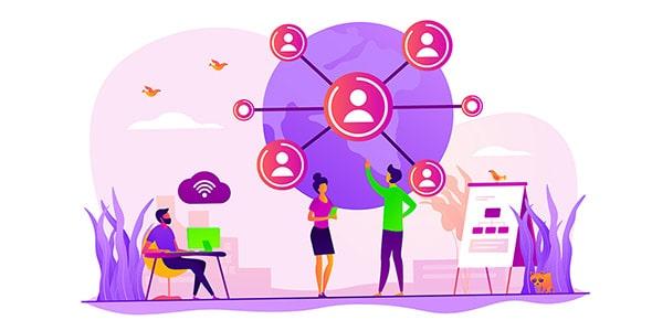 وکتور کاراکتر با مفهوم شبکه جهانی اینترنت