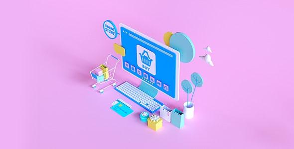تصویر سه بعدی با مفهوم فروشگاه اینترنتی
